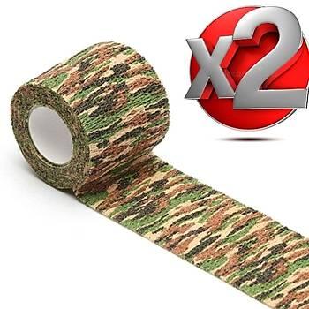 2 Adet Kamuflaj Bant 5cmx4,5Mt Su Geçirmez Elastik Bandaj-No:2
