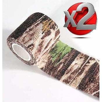 2 Adet Kamuflaj Bant 5cmx4,5Mt Su Geçirmez Elastik Bandaj-No:8
