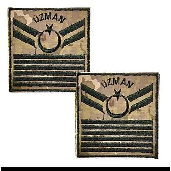 Uzman Çavuþ 6 Kademe Kamuflaj Rütbe 9cmx9cm (Kara Kuvvetleri)