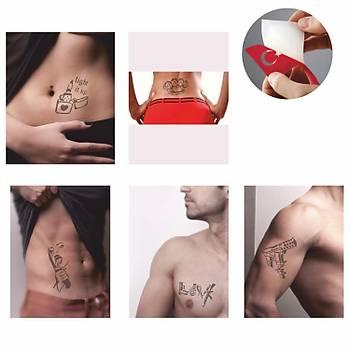Barýþ Mutluluktur Sprey Kýna ve Þablon Seti Tattoo Dövme