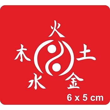 Ying Yang ve Beþ Element Dövme Þablonu Kýna Deseni