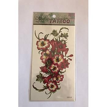 Yapýþtýrma Sticker Dövme Büyük Çiçekler Geçici Dövmesi