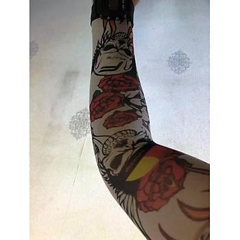 Çift Kol Giyilebilir Dövme Ýskeletor Desenler Tattoo Sleeve