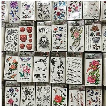 100 Adet Birden 1. Kalite Sticker Yapýþtýrma Tattoo Dövme Seti Karýþýk Desen