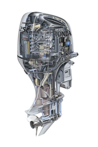 HONDA 250 HP EXTRA   UZUN ÞAFT TERS DÖNÜÞLÜ MARÞLI TRÝMLÝ DÝREKSÝYON SÝSTEMLÝ 4 ZAMANLI DIÞTAN TAKMA DENÝZ MOTORU-BF250 D XCRU-