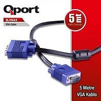 Qport Q-Vga5 15 Pin Fitreli 5 Metre Vga Kablo