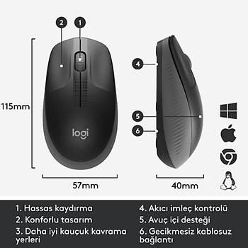 Logitech M190 Kablosuz Charcoal Mouse 910-005905