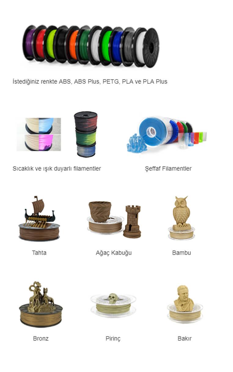 ArtýBoyut A0 3D Yazýcý - Filamentler