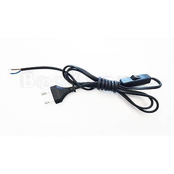 Fiþli Arapuar Kablo Siyah 2 Metre - Anahtarlý Kablo Aç Kapa 220V