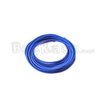 Mavi (Koyu) - Tekstil Örgülü Yuvarlak Dekoratif Renkli Kumaþ Kablo