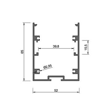 52mmX65mm Lineer Aydýnlatma Profil / 100cm / Geniþlik : 52mm / Yükseklik : 65mm
