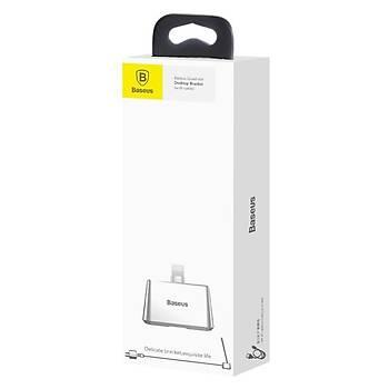 Baseus Quadrate iPhone Lightning Kablolu Dock Þarj Standý Gümüþ