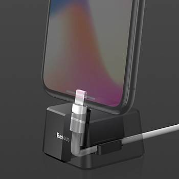 Baseus Quadrate iPhone Lightning Kablolu Dock Þarj Standý Kýrmýzý