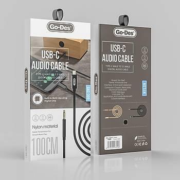 Go Des GAC-309 Aux Audio Kablo Type-C Giriþli Siyah