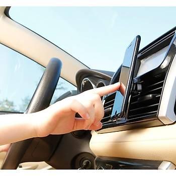 Baseus Privity Gerçek Deri Manyetik Araç Telefon Tutucu Gri