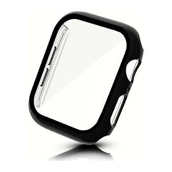 KinGcase Apple Watch Ekran Koruyucu Kasa 40mm Full 360 Derece Koruma Kapak Siyah