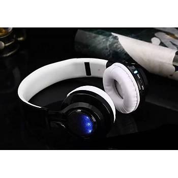 ZORE BT-005 Bluetooth KulakÜstü Kulaklýk Led Iþýklý Beyaz