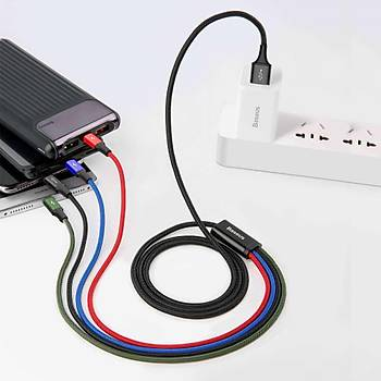 Baseus 3.5A 2X Lightning Micro Usb Type C Hýzlý Þarj Kablosu 1.2M
