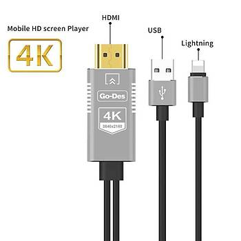 Go Des GD-8278 Lightning HDMÝ Çevirici 4K Destekli Full HD Kablo