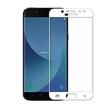 Piili 5D Tüm Yüzey Samsung Galaxy J7 Pro Cam Ekran Koruyucu Beyaz