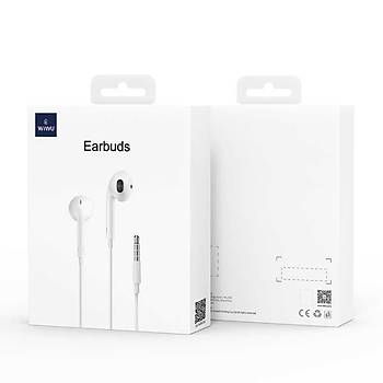 Wiwu Earbuds-101 3.5mm Jack Giriþli Kulaklýk Beyaz