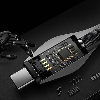 Benks D27 Snake Type-C Þarj ve Data Kablosu Grey1.2M 5A.