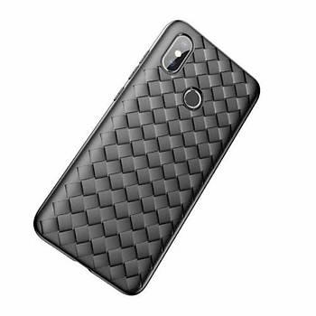 Baseus BV Weaving Serisi Xiaomi Mi 8 Hasýr Desenli Kýlýf Siyah
