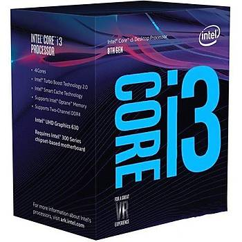 Intel Ý3-8100 R3N5 3.60Ghz 6Mb 1151P Ýþlemci