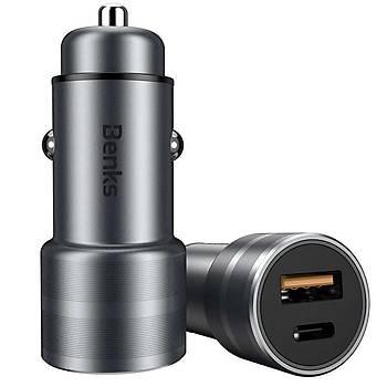 Benks C28 Typ-C+USB Çýkýþlý Araç Ýçi Seyehat Hýzlý Þarjý Gri