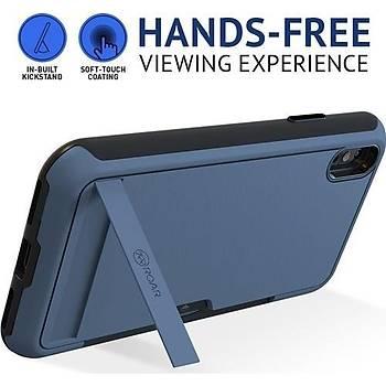 Roar Apple iPhone Xs Max Awesome Hyrbid Kartlýklý Standlý Kapak Gri