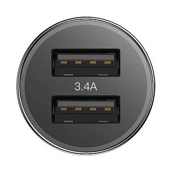 Baseus Small Screw 3.4A Çift Usb Lightning Hýzlý Araç Þarj Cihazý