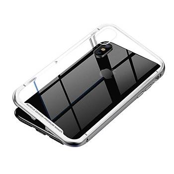 Baseus Magnetite iPhone XR 6.1 Cam Tasarým 360 Derece Kýlýf Gümüþ