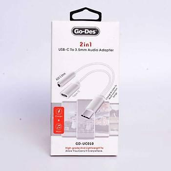 Go Des GD-UC010 2 in 1 Usb-C To 3.5mm Audio Çevirici Adaptör