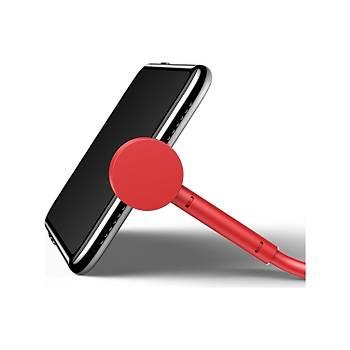 Baseus Maruko 2,1A 1M iPhone Lightning Stand Þarj Kablosu Kýrmýzý