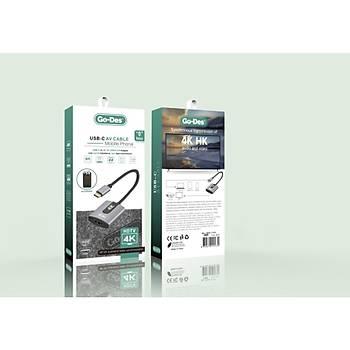 Go Des GD-8279 Type-C - HDMI Çecirici Adaptör 4K Destekli