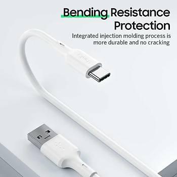 Benks D35 USB-Type-C Hýzlý Þarj Veri Aktarým Kablosu 180 CM Beyaz
