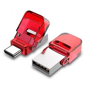 Baseus Red-Hat Serisi Type-C USB 32GB Flash Disk Bellek Kýrmýzý