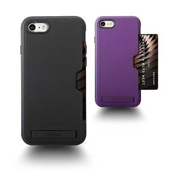 Roar Awesome Serisi Apple iPhone 7-8 Standlý+Kartlýklý Kýlýf Black