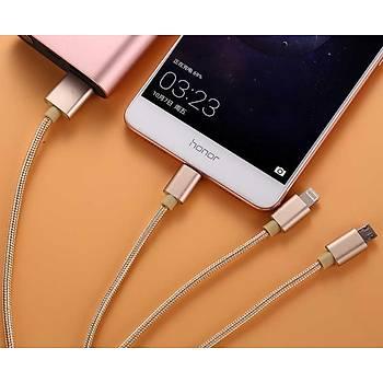 Xipin LX09 3in1 Type-C+Lightning+Micro USB Þarj ve Data Kablosu Gold