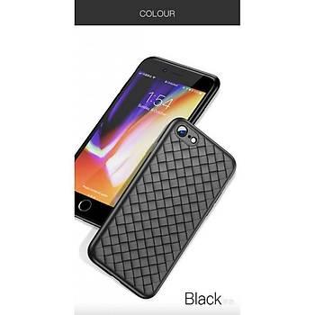 Baseus BV Weaving Serisi iPhone 7 / 8 Hasýr Desenli Kýlýf Siyah