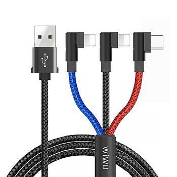 Wiwu YZ106 Dual Lightning 2+Type-C Usb Þarj ve Data Kablosu