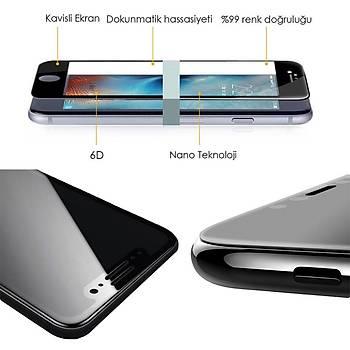 Piili 6D Eðimli Kenar Ön iPhone 7 Plus Cam Ekran Koruyucu Siyah