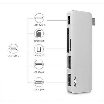 Wiwu T6 Type-C 3 USB Çýkýþlý Çoklayýcý ve Çevirici HUB Gri