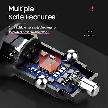 Benks C29 Type-C-USB Giriþli Araç Ýçi 3 A. Hýzlý Þarj Siyah