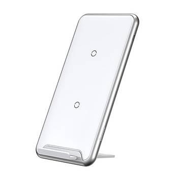 Baseus Three-Coil Kablosuz Masaüstü Þarj Stand Ve Platform Beyaz