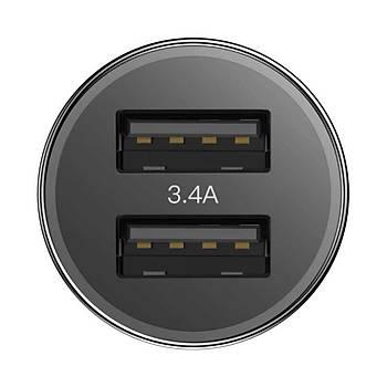 Baseus Small Screw 3.4A Çift USB Giriþli Hýzlý Araç Þarj Cihazý