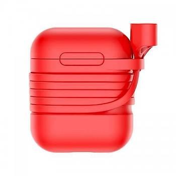 Baseus Apple Airpods Kýlýf ve Kulaklýk Askýsý Kýrmýzý