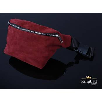 KingBad Süet Omuz ve Bel Çantasý (Bordo)