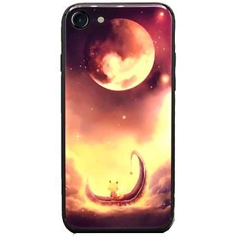 AntDesign iPhone 7 / iPhone 8 Cam Baský Desenli Kýlýf Red Moon