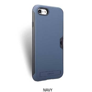 Roar Awesome Serisi Apple iPhone 7-8 Standlý+Kartlýklý Kýlýf Navy